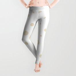 Mixed Polka Dots - Pearl Brown on White Leggings