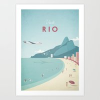 travel poster Art Prints featuring Vintage Rio Travel Poster by Travel Poster Co.