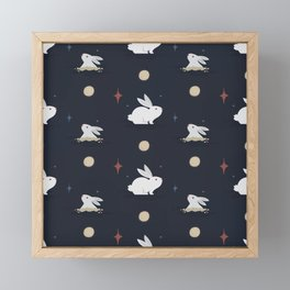 Bunnies on the Moon (Patterns Please) Framed Mini Art Print