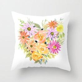 Floral Heart 1 Throw Pillow