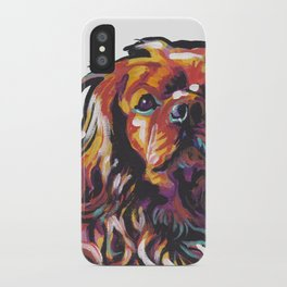Ruby Cavalier King Charles Spaniel Dog Portrait Pop Art painting by Lea iPhone Case