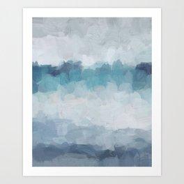 Aqua Teal Turquoise Sky Blue White Gray Abstract Art Modern Painting Art Print
