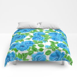 Blue roses watercolor seamless pattern Comforters