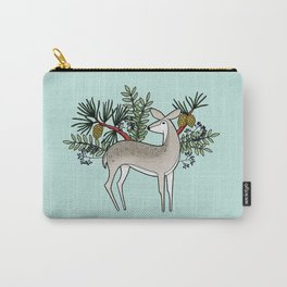 Deer with Pine - Seafoam Green Carry-All Pouch