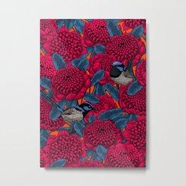 Red waratah and fairy wrens  Metal Print