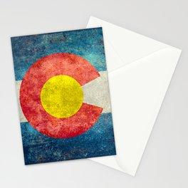 Colorado State Flag in Vintage Grunge Stationery Cards