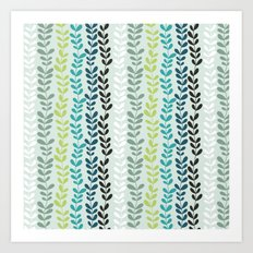 Blue and mint floral Art Print