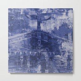 Totem Cabin Abstract - Stonewashed Denim Metal Print