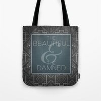 fitzgerald Tote Bags featuring The Beautiful & The Damned - F.Scott Fitzgerald by Bookish Prints