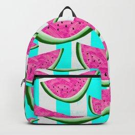 Watermelon Crush on Aqua and White Stripes Backpack