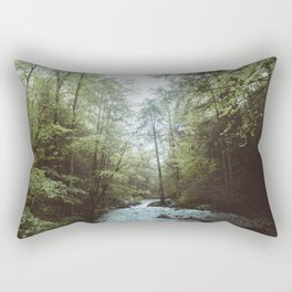 Peaceful Forest, Green Trees and Creek, Relaxing Water Sounds Rectangular Pillow