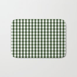 Dark Forest Green and White Gingham Check Bath Mat