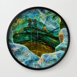 Abstract rocks with barnacles and rock pool Wall Clock