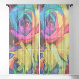 Roses In Blooming Vibrant Colors Sheer Curtain
