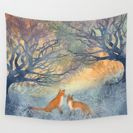 The Two Foxes Wall Tapestry