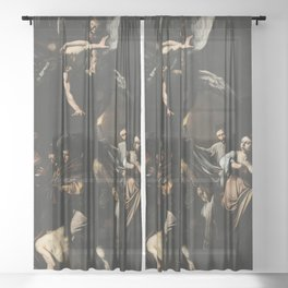 The Seven Works of Mercy - Caravaggio Sheer Curtain
