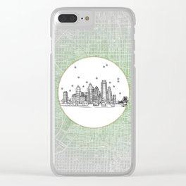 Philadelphia, Pennsylvania City Skyline Illustration Drawing Clear iPhone Case