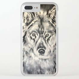 Crazy Eyed Wolf Clear iPhone Case