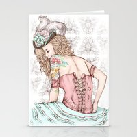 marie antoinette Stationery Cards featuring Marie Antoinette by Frances Louw