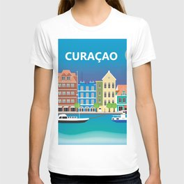 Curacao - Skyline Illustration by Loose Petals T-shirt