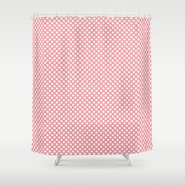 Flamingo Pink and White Polka Dots Shower Curtain