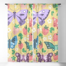 Strawberry Patch Sheer Curtain
