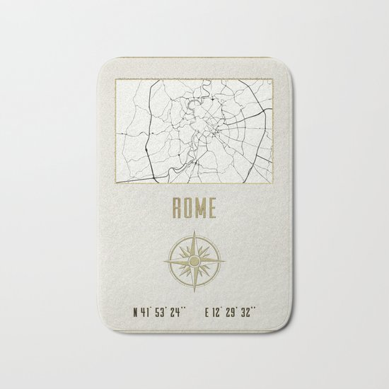 Rome - Vintage Map and Location Bath Mat