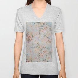 Vintage romantic blush pink ivory elegant rose floral Unisex V-Neck