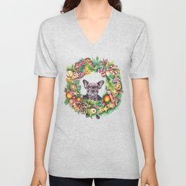 Frenchie in the christmas wreath Unisex V-Neck