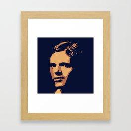 Jack London - portrait navy and yellow orange Framed Art Print