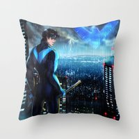 nightwing Throw Pillows featuring Nightwing by Cielo+