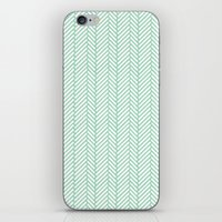 herringbone iPhone & iPod Skins featuring Herringbone Mint by Project M