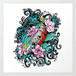 Colored Carpa Koi Art Print