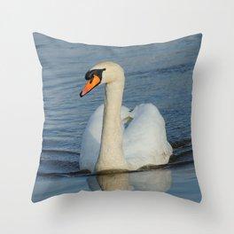 Elegant Mute Swan in the Harbor Throw Pillow