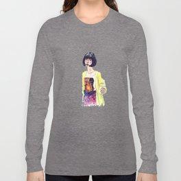 Fashion Illustration . Oriental Girl Long Sleeve T-shirt