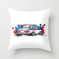 bmw Throw Pillows featuring BMW 2002 by Claeys Jelle Automotive Artwork