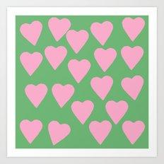 Hearts Pink on Green Art Print