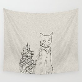 The Cat and the Pineapple Wall Tapestry
