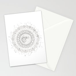 Mandala with Full Moon and Constellations Illustration Stationery Cards