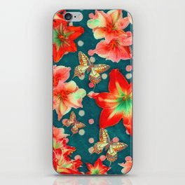 Amaryllis and Butterflies 2 iPhone Skin