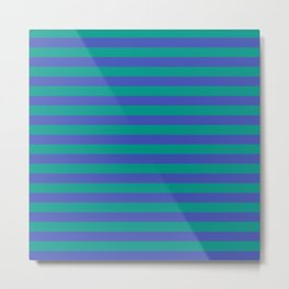 Even Horizontal Stripes, Teal and Indigo, XS Metal Print