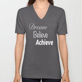 Dream Believe Achieve Ultra Violet Unisex V-Neck