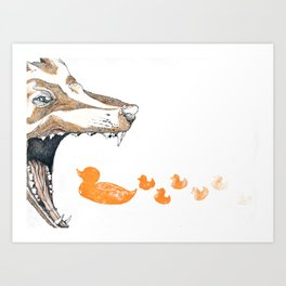 Fox vs. Duck Art Print