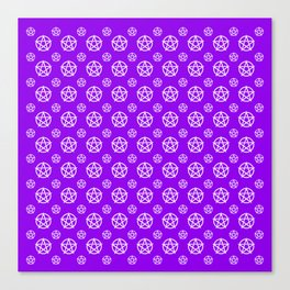 Violet White Pentacle Pattern Canvas Print