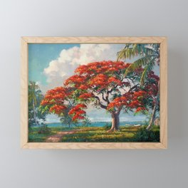 Royal Poinciana Tropical Florida Keys Landscape by A.E. Backus Framed Mini Art Print