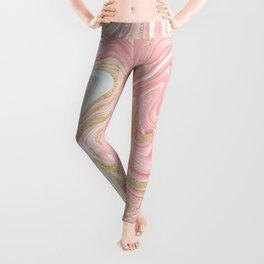 Modern pink coral marble gold glitter pattern Leggings