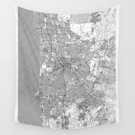 Perth Map Line Wall Tapestry