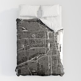 Chicago Black And White Map Comforters