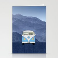 volkswagen Stationery Cards featuring Volkswagen Bus by Aquamarine Studio
