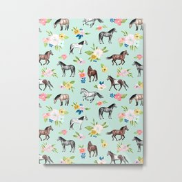 Horse and Flower Print, Mint Blue, Pink flowers, Equestrian, Spring Floral Metal Print